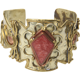 Vintage Brutalist Brass and Copper Red Stone Wide Cuff Bracelet Handcrafted