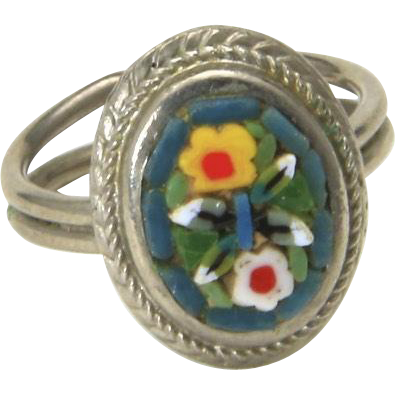 Vintage Silver Micro Mosaic Flower Image Ring Adjustable Size 4.75 Italy