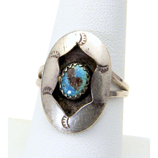 Vintage Sterling Silver Turquoise Stone Stamped Shadow Box Ring Size 8.25