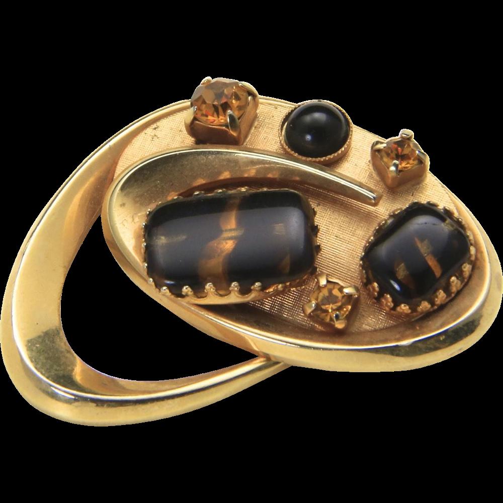 Vintage Gold Tone Amber RhinestoneTortoise Glass Gems Boomerang Pin Brooch Retro
