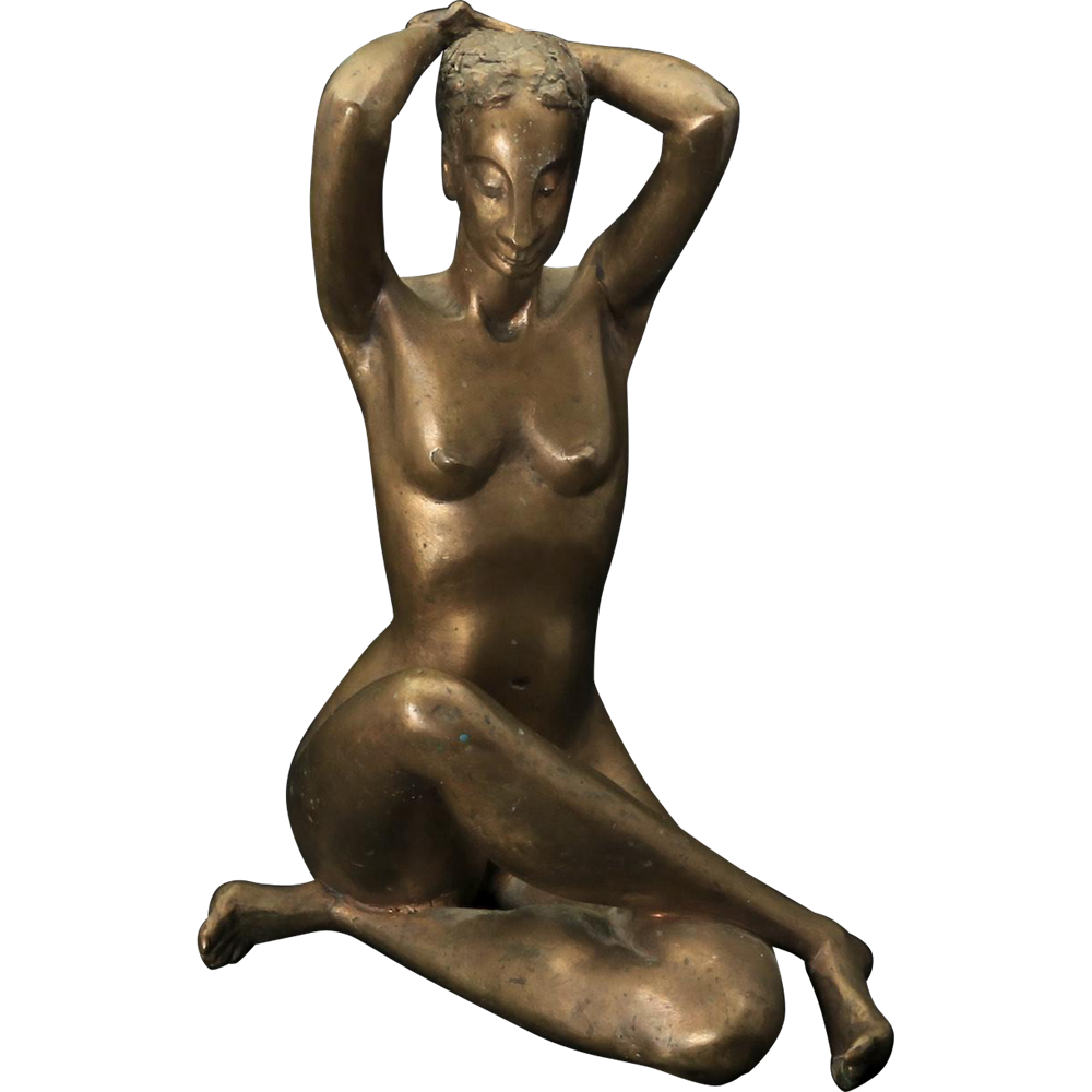 Vintage 20th Century Bronze Nude Seated Woman Statue Art Deco Style