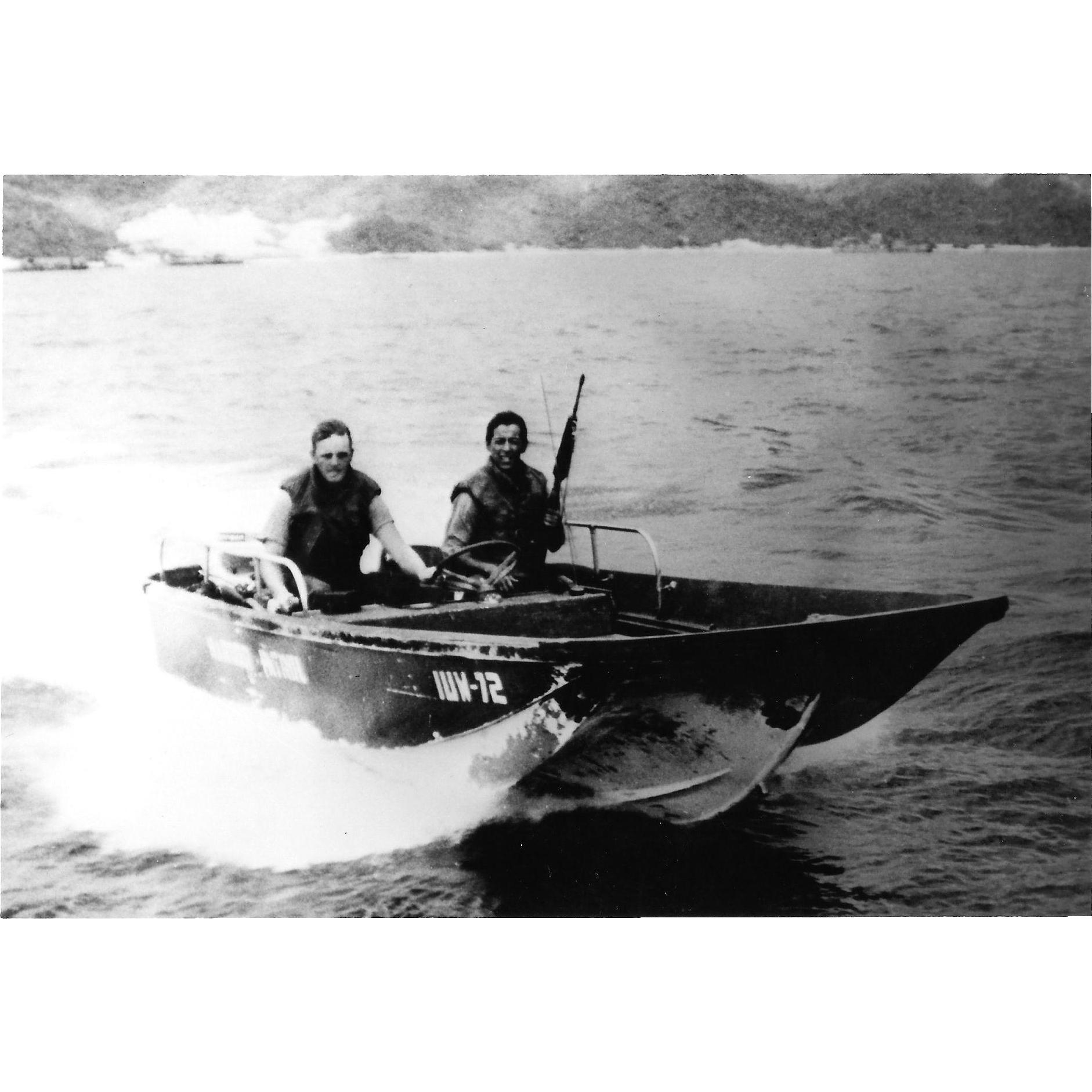 Vintage Photo Brown Water Navy Vietnam War Era Seal Assault Boat