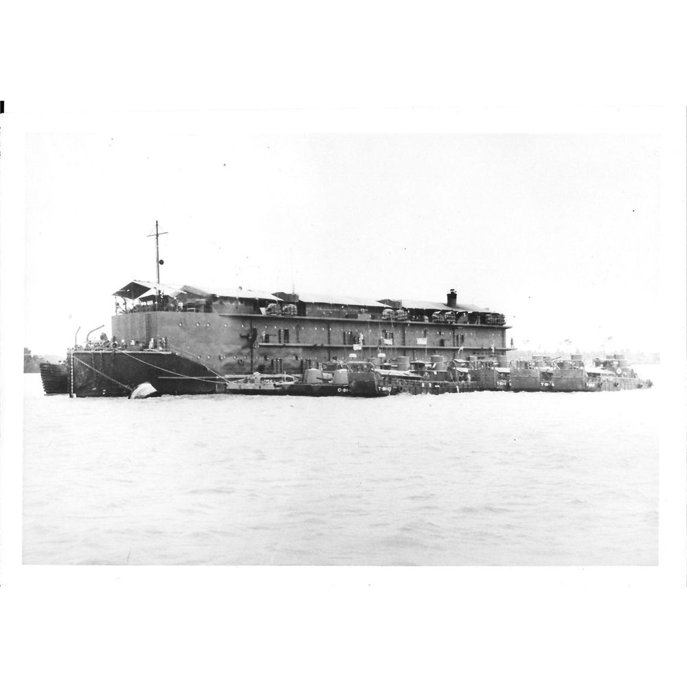 Vintage Photo Brown Water Navy Vietnam Non Self Propelled Barracks Ship (APL)