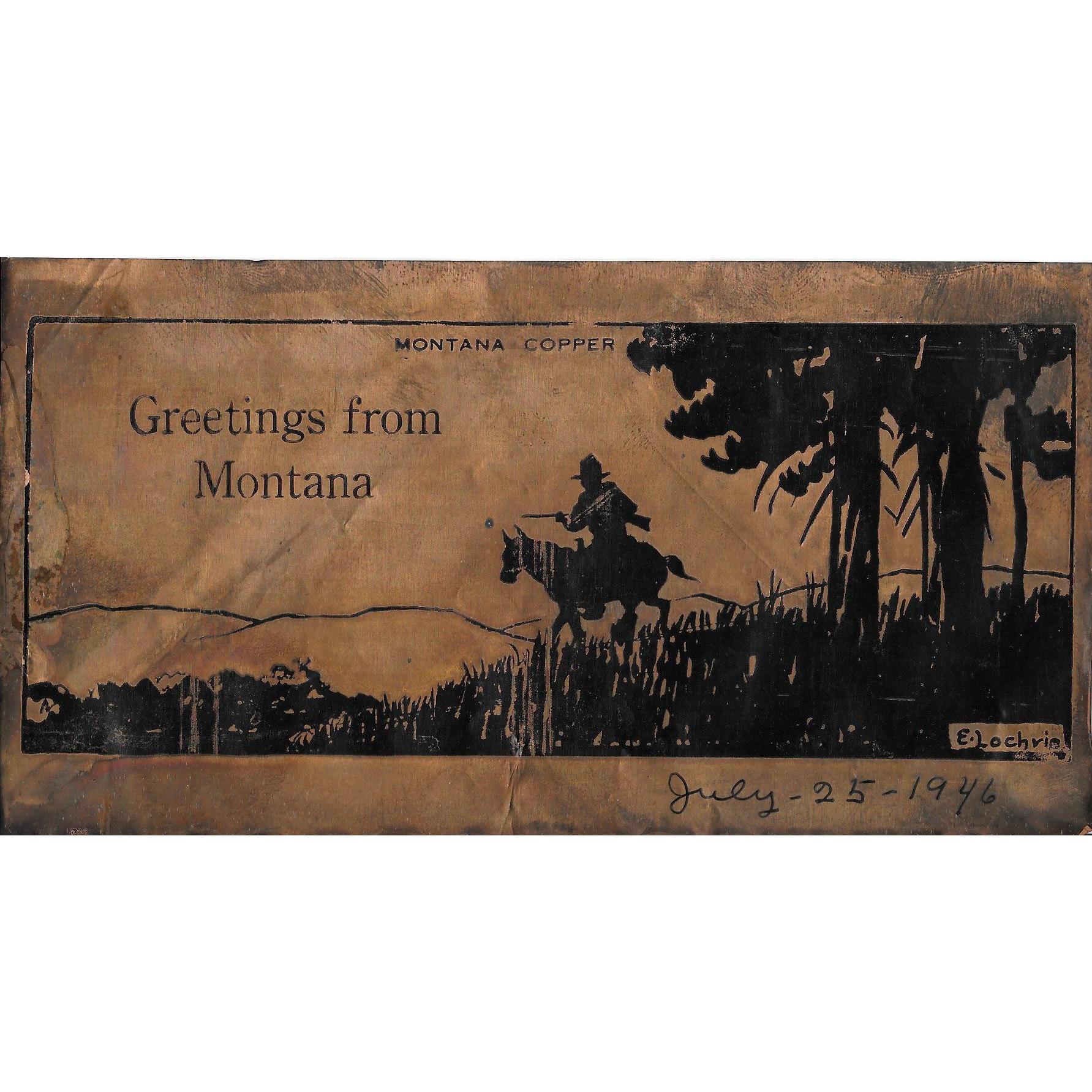 Vintage 1946 Montana Copper Foil Postcard E. Lochrie Image Scenic