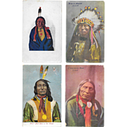 Vintage Postcard Lot of 4 Native American Chief Portraits 1900s