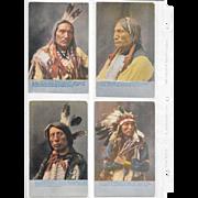 Vintage Postcard Lot of 4 Native American Individual Portraits & Mini Biography