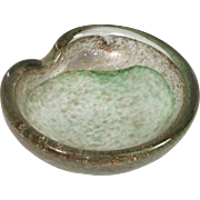 Vintage Italian Murano Green White & Gold Glitter Sparkle Swirl Art Glass Bowl