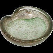 Vintage Italian Murano Green White & Gold Glitter Sparkle Swirl Art Glass Bowl