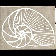 Vintage 1975 Marüshka Nautilus Seashell White Screen Print On Brown Linen Art
