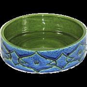 Vintage Raymor Bitossi Aldo Londi Rimini Blue and Green Ceramic Flat Sided Bowl