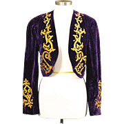 Vintage DeMoulin Bros. & Co. Purple Velvet Marching Band Uniform Bolero Jacket