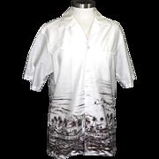Vintage Men's Hawaiian Palm Shirt Hilo Palm Tree Ocean White & Brown Aloha Beach