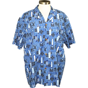 Vintage Men's Royal Creations Blue Surfboard Hawaiian Print Button Up Shirt XL