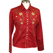 Retro Women's Western Shirt Red Flower Embroidery Rockabilly Pearl Snap Button