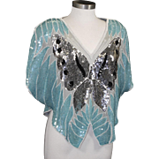 Vintage Dominique Butterfly Silk Shirt Turquoise Aqua Sequin Silver Top Disco