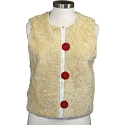 Vintage Knight Taylors Cream Lambs Wool Zipper Vest Big Red Buttons Retro Boho