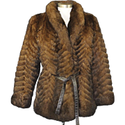 Vintage Meier & Frank Tie Closure Brown Fur Coat Mid Length Jacket Mink 70s Glam
