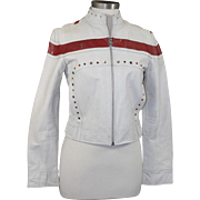 Vintage Wilsons Leather Rock & Roll Fashion White Red Silver Motorcycle Jacket