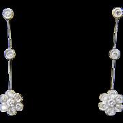 Vintage 14K White Gold Diamond Flower Hinged Drop Earrings