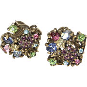 Vintage Holly Craft Multi-Color Rhinestone Screw-Back Earrings Retro Bombshell