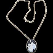 Vintage Sterling Silver Chain Necklace & Enamel Unicorn Pendant Fantasy Jewelry