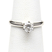 Vintage 14K White Gold .5 Carat Round Diamond Solitaire Ring Size 5 Engagement