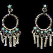 Vintage Sterling Silver Turquoise Petit Point Dangle Earrings Southwestern Boho