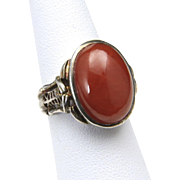 Vintage Chinese Sterling Silver Carnelian Stone Cabochon Ring Size 6.5