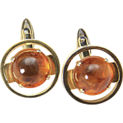 Vintage Gold Tone and Genuine Amber Cabochon Circle Cufflinks Cuff Links