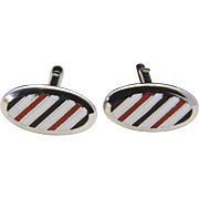 Vintage Swank Stainless Steel Black White & Red Enamel Striped Oval Cufflinks