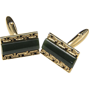 Vintage Gold Tone and Green Jade Rectangle Cufflinks Retro Mid Century