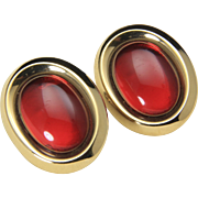 Vintage Monet© Gold Tone and Large Red Cabochon Clip Earrings Retro