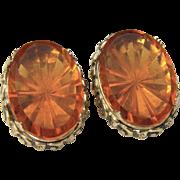 Vintage Whiting & Davis Co 1960s Gold Tone Amber Starburst Glass Clip Earrings
