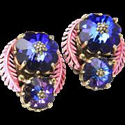 Vintage Hollycraft Blue Purple Aurora Borealis Glass Rhinestone Clip Earrings