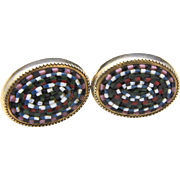 Vintage Gold Tone Glass Micro Mosaic Oval Cufflinks Pink Blue White Black Green