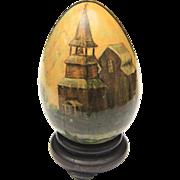 Antique Hand Painted Folk Art Wooden Egg Church & Cross Imagery