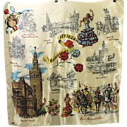 Vintage Sevilla Spain Souvenir Silk Scarf Landmark Location & Famous Imagery