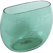 Vintage Winslow Anderson for Blenko Large Teal Green Glass Wide Mouth Vase