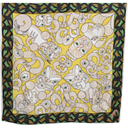 Vintage Ma Cherie Acetate Scarf New Zealand Maori Gods Images Yellow Green White