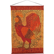 Vintage Danish Scandanavian MCM Rooster Art Print on Jute Burlap Wall Hanging