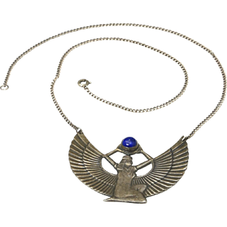 Vintage Egyptian Revival Sterling Silver & Lapis Isis Goddess Pendant Necklace