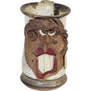 Vintage Medium Mahon Made Stoneware Silly Face Woman w/ Mole & Red Lips Mug