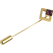 Vintage Trifari Gold Tone Diamond Shape w/ Amethyst Glass Stick Pin Deco Style
