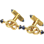 Vintage Swank Gold Tone and Blue Glass Cabochon Tie Knot Cufflinks Cuff Links