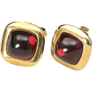 Vintage Anson Gold Tone & Ruby Red Cabochon Gem Square Cufflinks Cuff Links