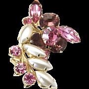 Vintage Mid Century Judy Lee Gold Tone Pink Rhinestone Floral Look Brooch Pin