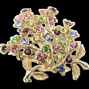 Vintage Coro Gold Tone & Multi Color Rhinestone Floral Bouquet Brooch Pin Retro