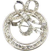 Vintage CR Co. Charles Ries Sterling Silver & White Rhinestones Bow Brooch Pin