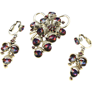 Vintage Gold Tone and Purple Aurora Borealis Grape Cluster Brooch Pin & Earrings