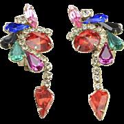 Vintage Red White Purple Pink Blue Black Green Rhinestone Dangle Clip Earrings